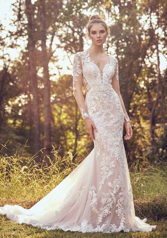 Lillian West Ivory Nude Lace 6507 Feminine Wedding Dress