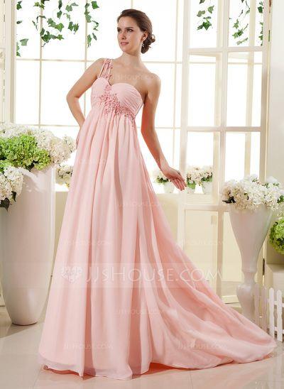 Empire One-Shoulder Sweep Train Chiffon Maternity Bridesmaid Dress With Ruffle Lace Beading (045022469)