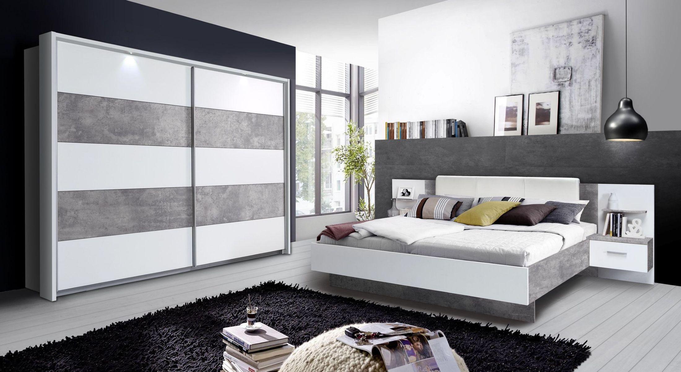 Schlafzimmerset In Weiss Beton Forte M–bel Ginger Weiß