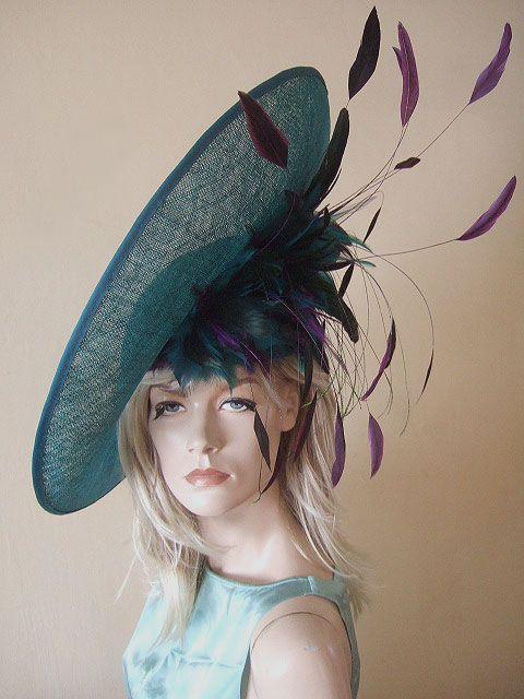 82015e20a9c Large Teal Purple Saucer Ascot Hat Hire