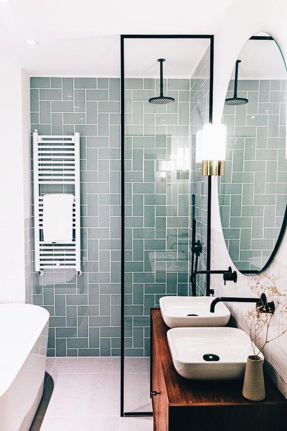Modern Scandinavian Bathroom Interior With Green Herringbone Tile Small Bathroom Remodel Colorful Bathroom Tile Bathroom Remodel Shower