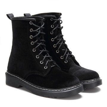 Black Velvet Lace-up Design Short Boots