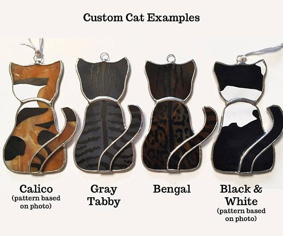 This stained glass cat is so adorable looking out the window! And the black cat is purrrrfect for Halloween! These cats come in two varieties (short-hair and long-hair), as well as four base colors (Black, White, Gray, Orange/Tan). If you want/need a special color or custom pattern for the fur,