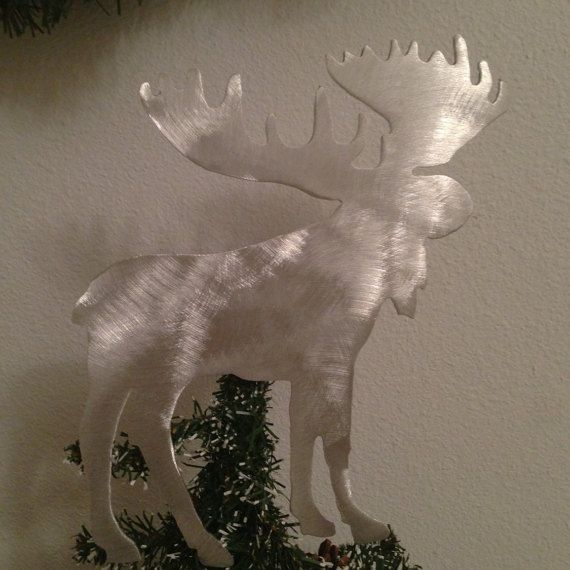Aluminum Christmas Elk Handcrafted Metal Tree Topper Holiday Decor Rustic