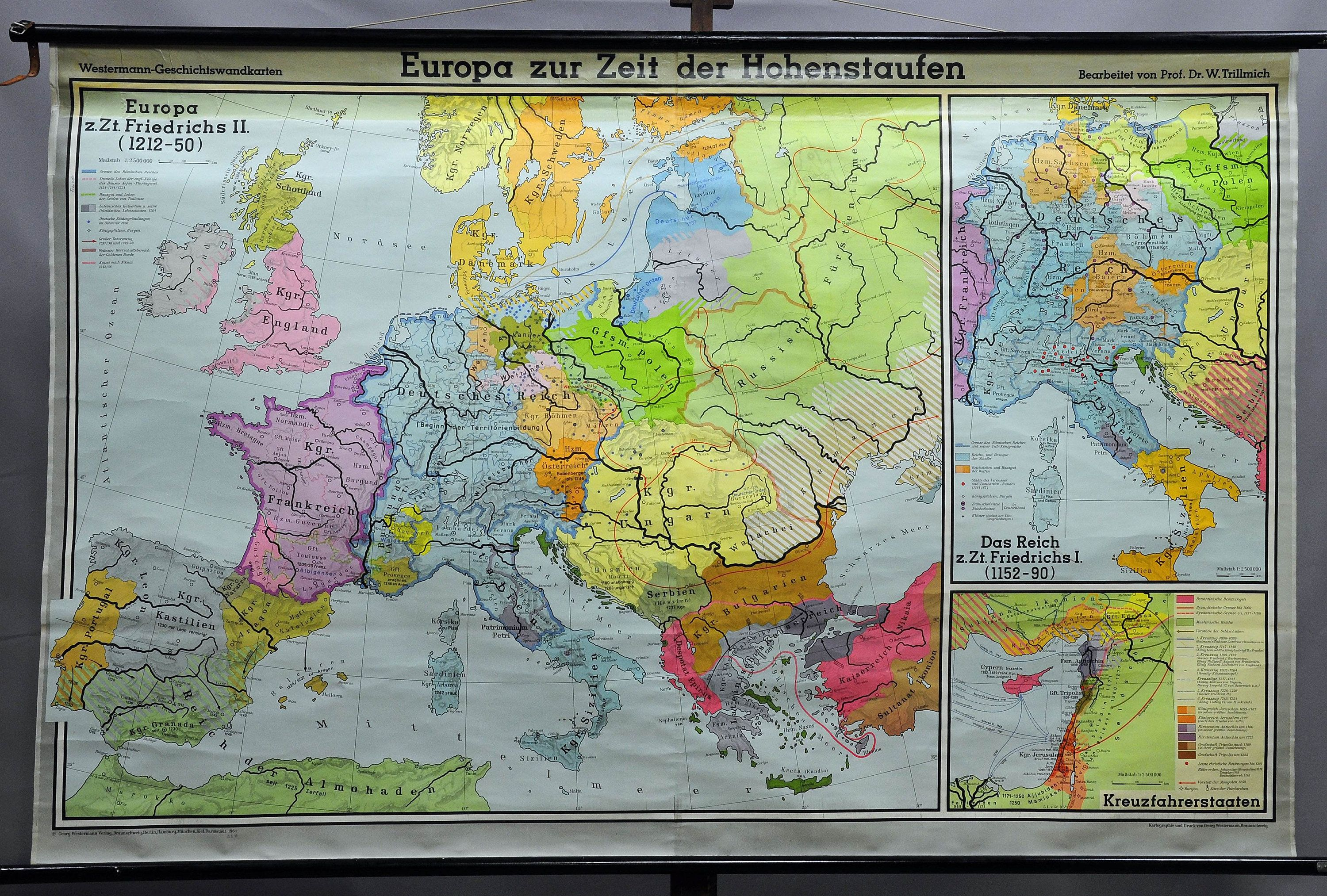 Map Of Wurope%0A old historical wall chart  map  Europe at the time of the Hohenstaufens