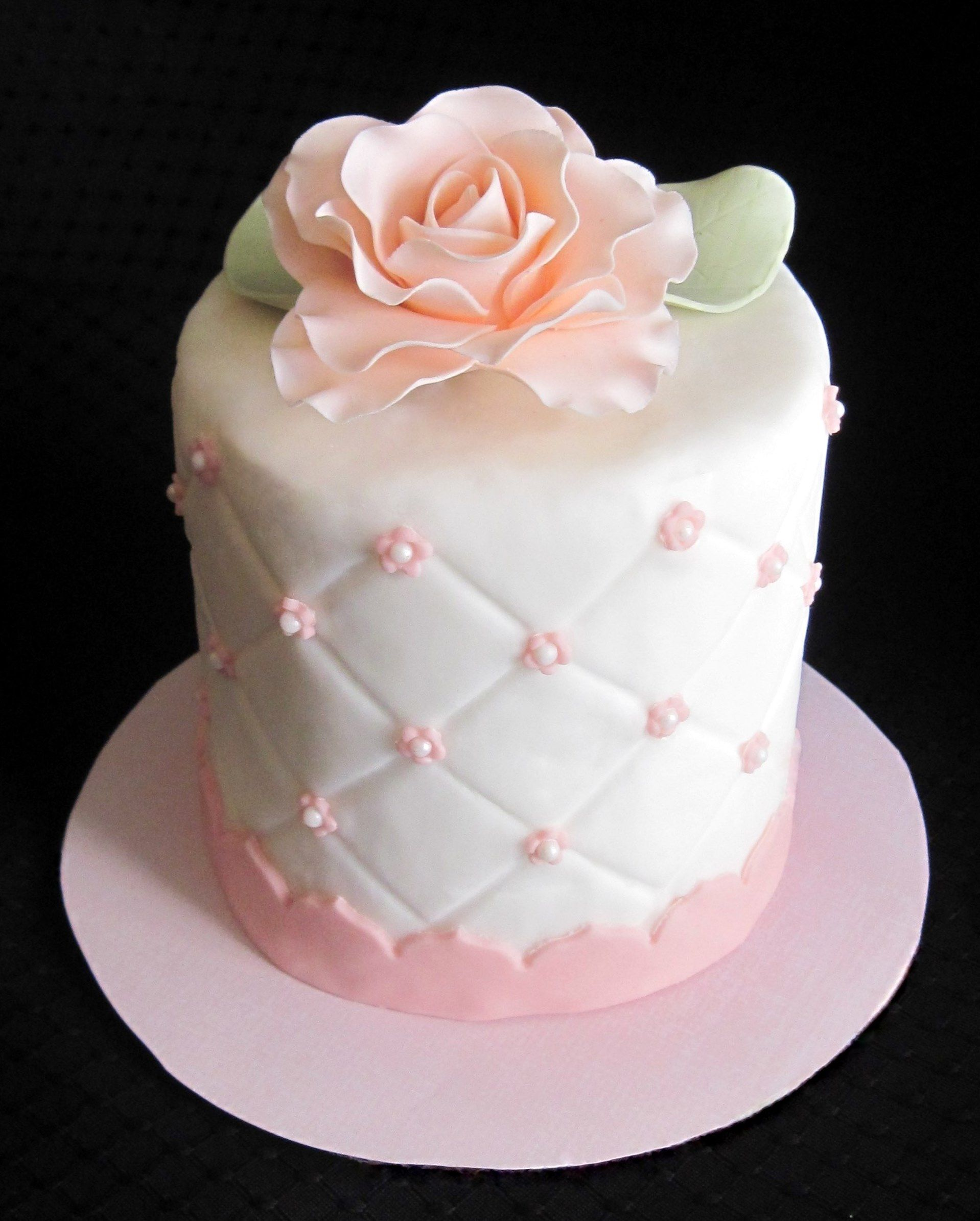 Cake Decorating With Gumpaste Flowers : simle elegant mother of the Bride cake - 4 inch individual ...