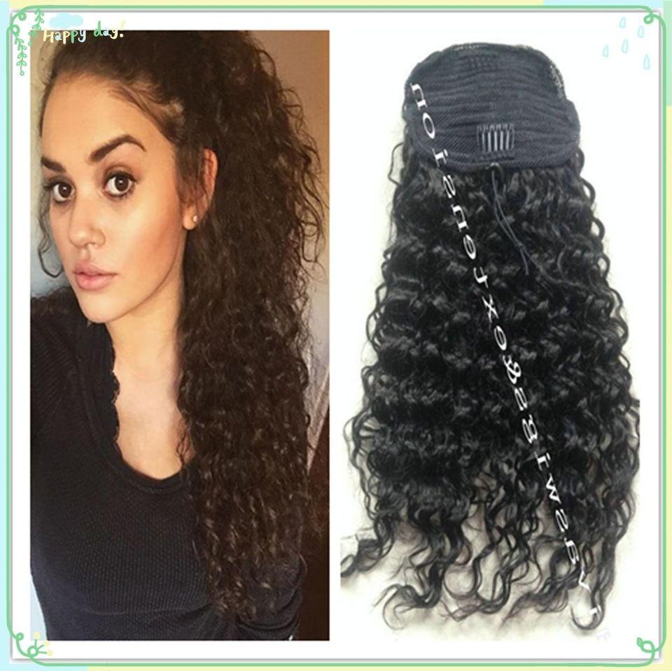 Unprocessed brazilian hair drawstring ponytail human hair kinky unprocessed brazilian hair drawstring ponytail human hair kinky curly high ponytail extension pony tail wig for black women pmusecretfo Images