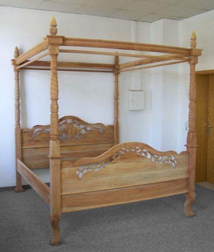 Doppelbett Bett 180x200cm Himmelbett Natur Holz Betten