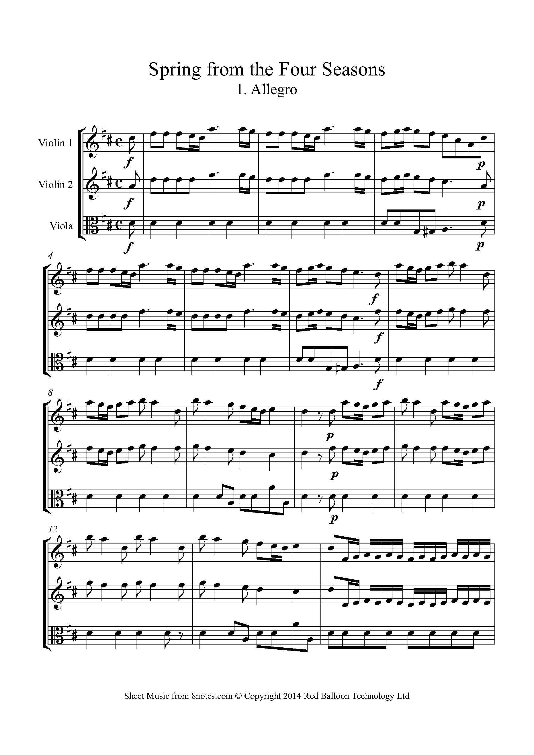 Vivaldi Spring From The Four Seasons 1 Allegro Sheet
