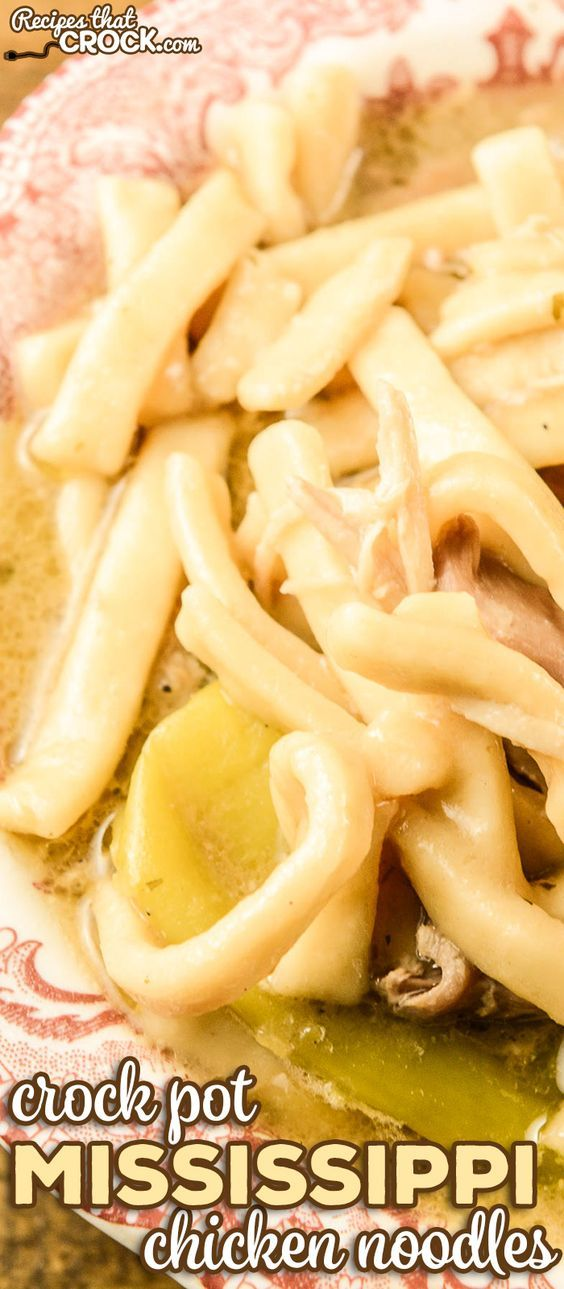 our crock pot mississippi chicken noodles with images