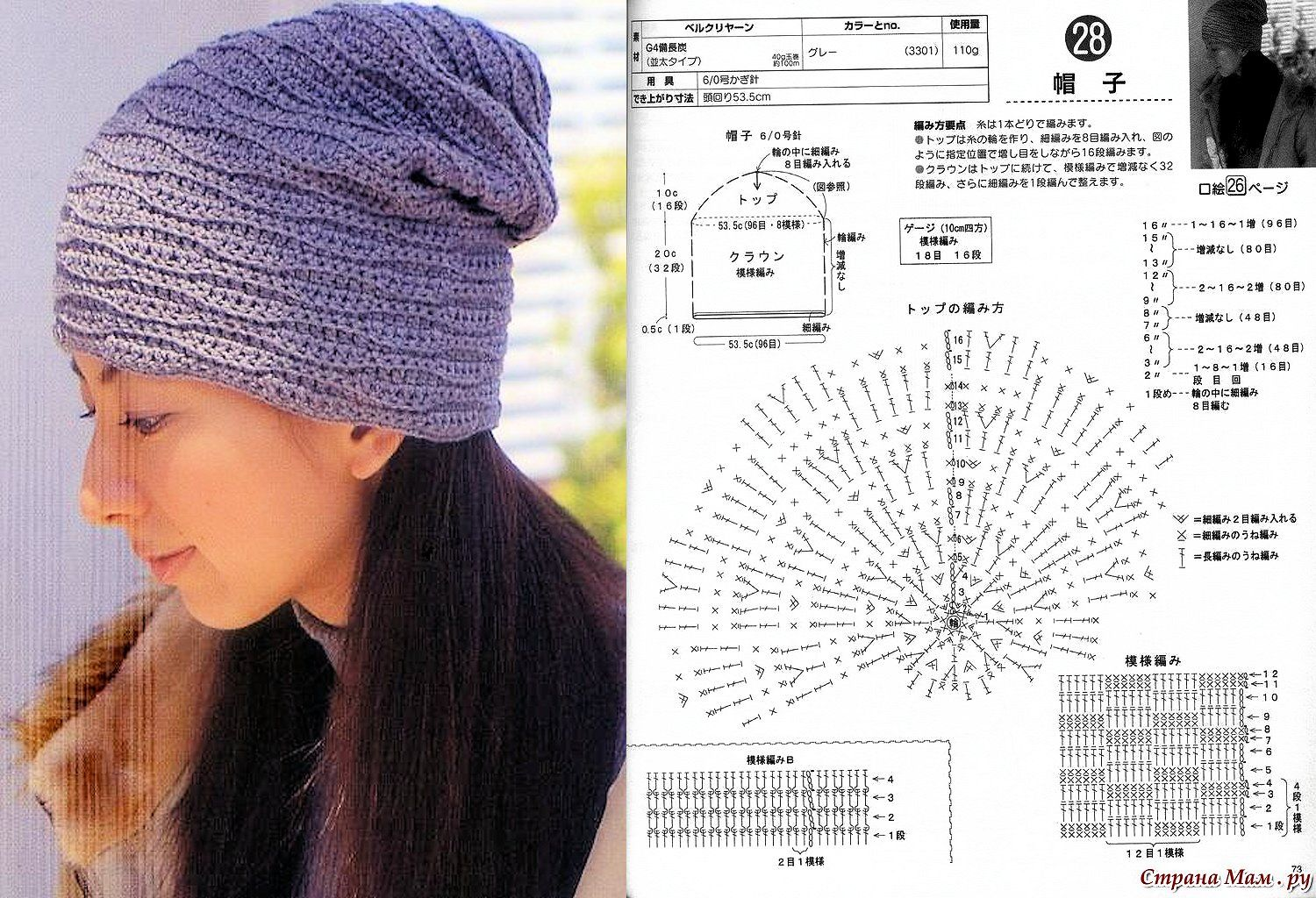 Crochet Slouch Hat | Crochet Diagrams or Charts | Pinterest | Slouch ...