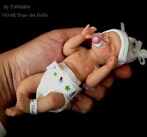 Ooak Cute Realistic Newborn Baby Girl Lucy 6 Mini Sculpt Art Doll By T Walden Ebay Silicone Baby Dolls Baby Mold Realistic Baby Dolls