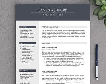 Contemporary Resume Templates Modern Resume Template For Word And Pageslandeddesignstudio