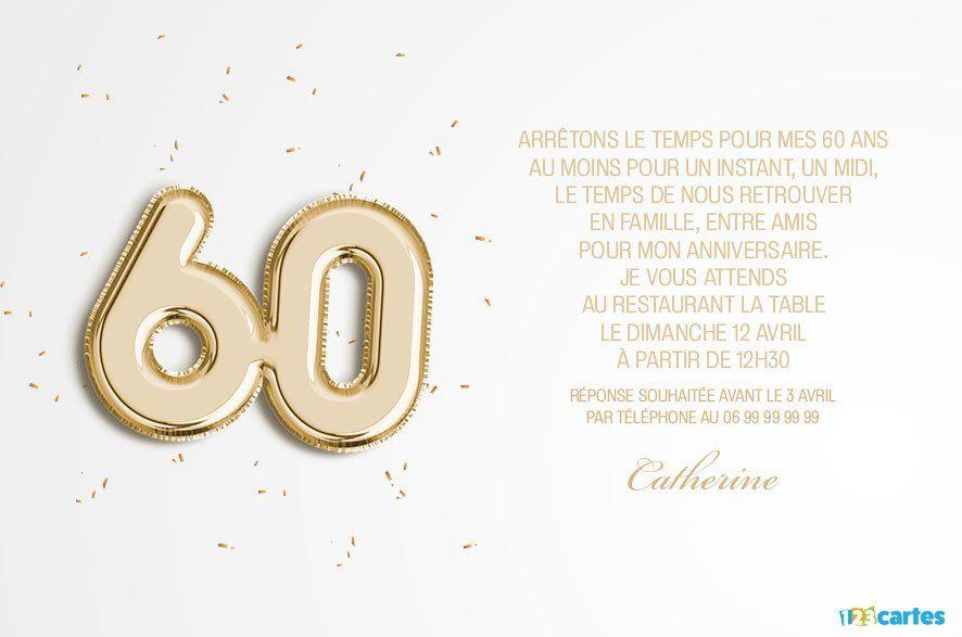 60 Ans Ballons Age Invitation Anniversaire 123cartes Invitation Anniversaire Invitation Anniversaire 60 Ans Carte Invitation Anniversaire