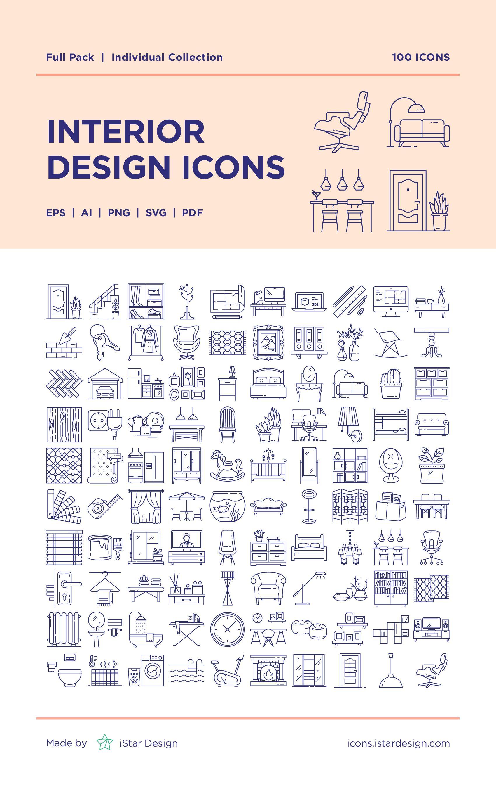 Interior Design Icons Set Interior design sketches
