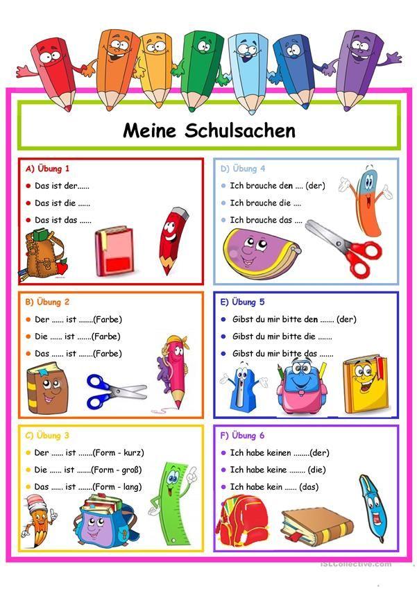 Schulsachen in 2018 | Hallo, Kinder, wir lernen Deutsch | Pinterest ...