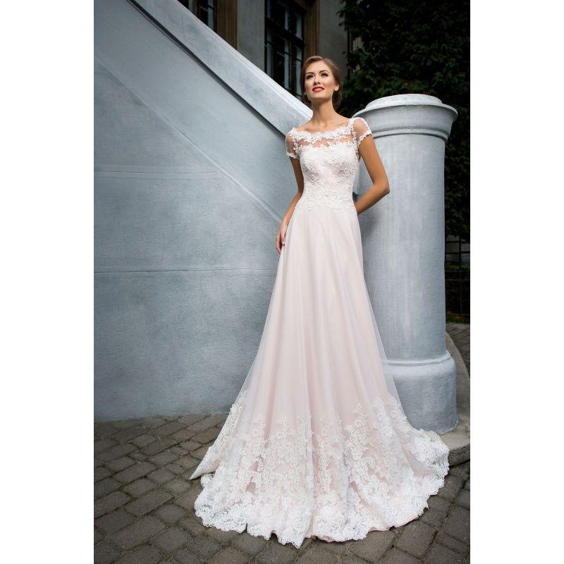 bcf5d4d55d96 Luxusné dlhé svadobné šaty s nádychom ružovej farby s rukávmi s nášivkami