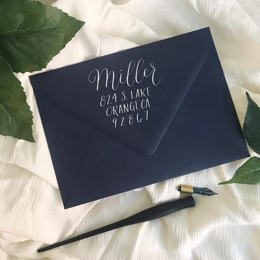 Navy blue envelopes return address for wedding