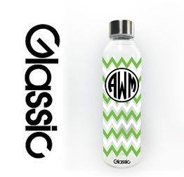 Send your graduate off to college with a personalized monogramed bottle featuring their new school's colors by GlassicBottles! No need to worry about breakage! Glassic bottles feature GlassicGuard which strengthen and contains the glass!