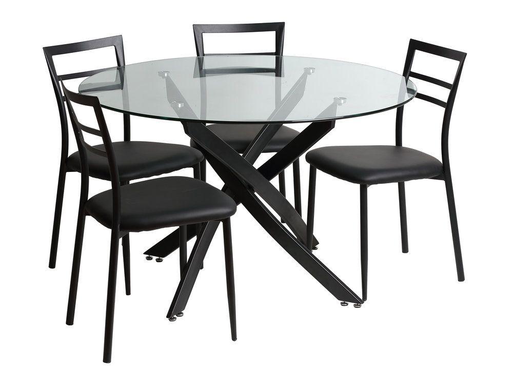 Ensemble Table A Manger Ronde En Metal Verre L120cm Et 4 Chaises Metal Becky Chaises De Table A Manger Table Et Chaises Ensemble Table Et Chaise