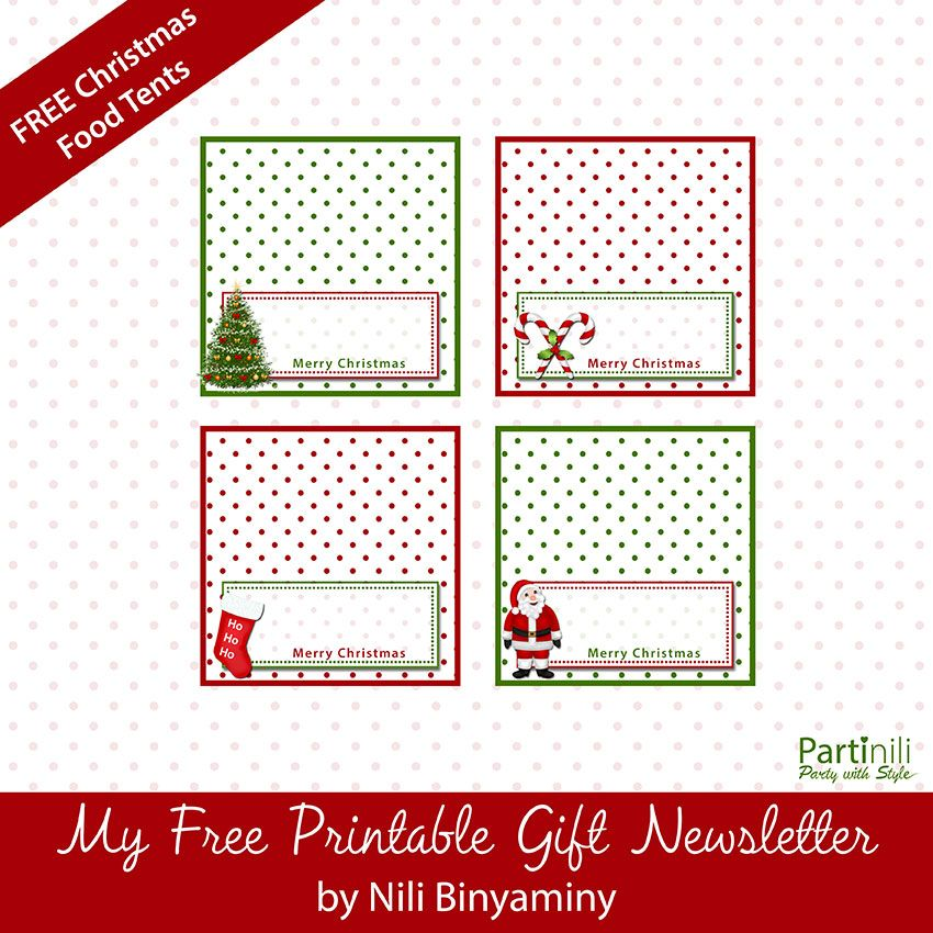 picture about Free Printable Christmas Place Cards called Printable Xmas Room Playing cards / Foods Tents Position Playing cards