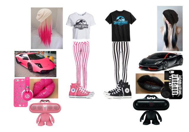 """""""Pink & Black Stripes"""" by madamebizzle ❤ liked on Polyvore featuring Converse, Forever New, King & Fifth Supply Co. and New Look"""