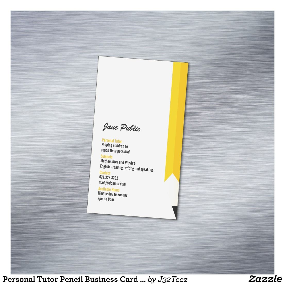Personal Tutor Pencil Business Card Magnets | Business cards, Card ...