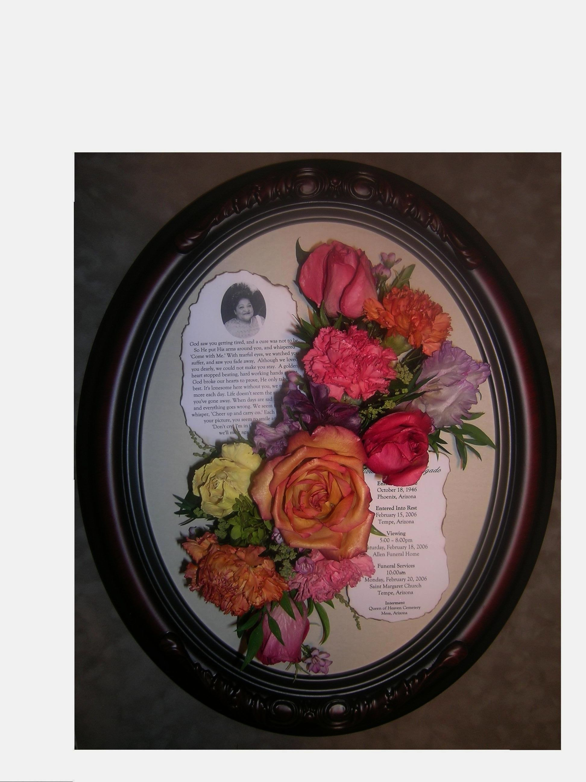 Preserved memorial flowers in oval frame httpfacebook preserved memorial flowers in oval frame httpfacebook izmirmasajfo Choice Image