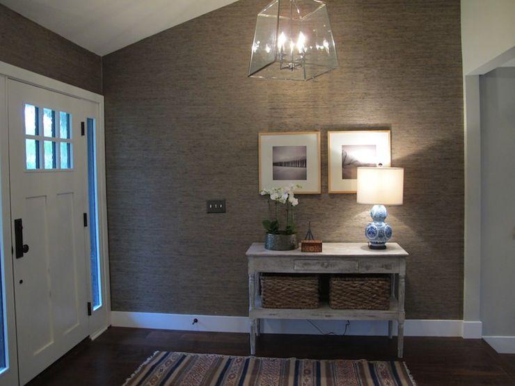 Grasscloth Wallpaper In Bathroom | ... Grasscloth, Platinum Gray Grasscloth  Wallpaper, Foyer