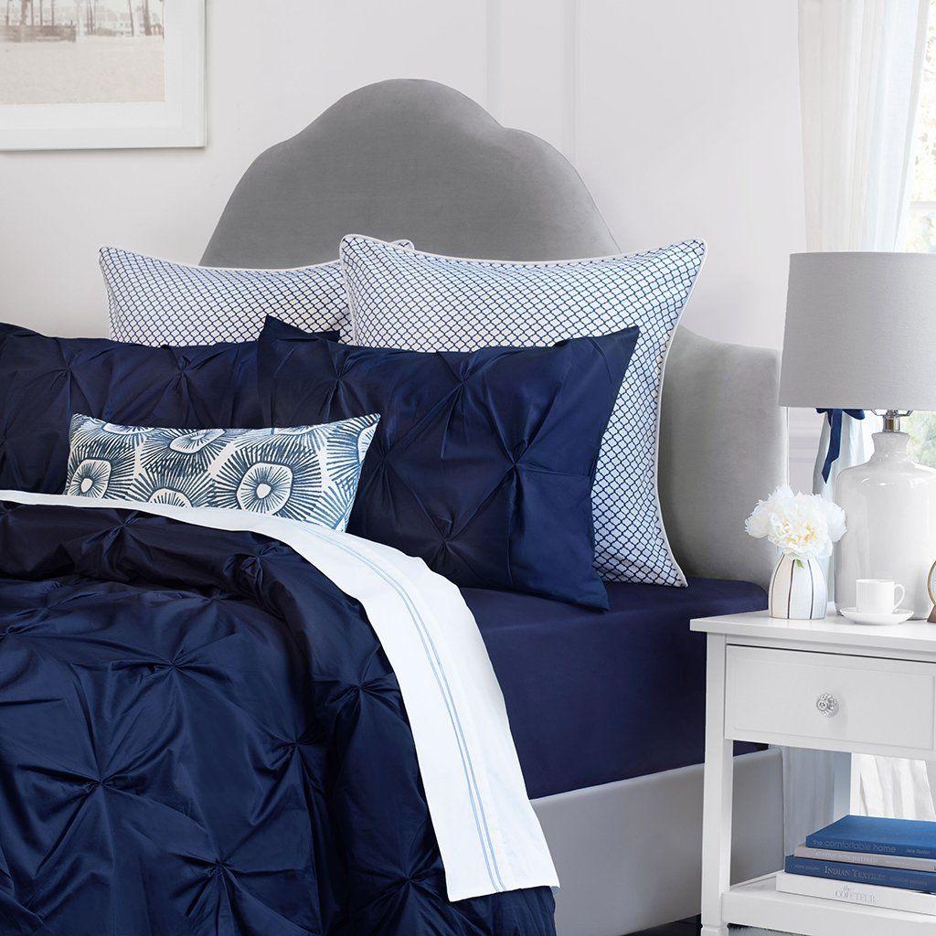 Navy Blue Valencia Pintuck Duvet CoverTwin/Twin XL