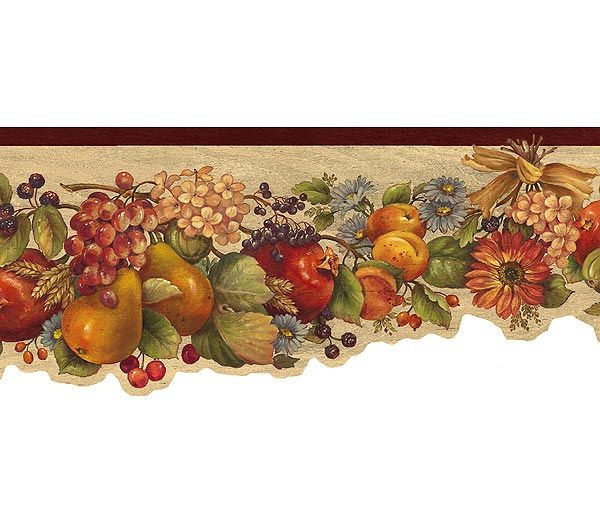 Interior Place Rust Fruit And Flowers Wallpaper Border 12 99 Http Www Interiorplace Com Rust Fruit And Wallpaper Border Fruit Wallpaper Floral Wallpaper