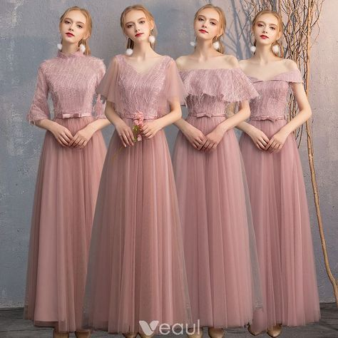 Chic Beautiful Pearl Pink Lace Bridesmaid Dresses 2019 A Line Princess Bow Sash Floor Length Long Ru Dress Brokat Lace Bridesmaid Dresses Bridemaid Dress