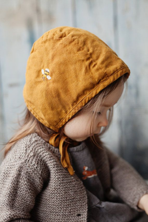 Linen Bonnet, Mustard Baby Hat, Washed Linen, Hand Made Embroidery ...