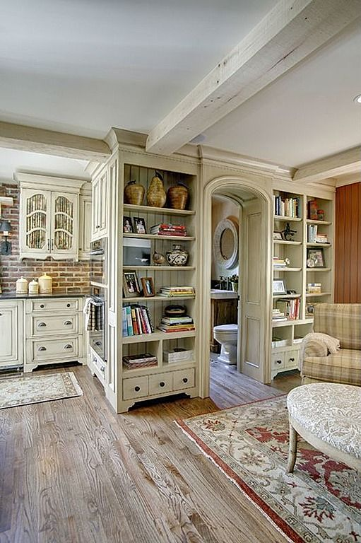 Interesting use of cabinetry to make deep doorway - Country Kitchen
