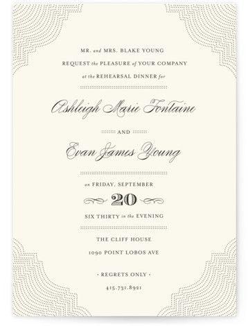 splendorous customizable rehearsal dinner invitations in beige by