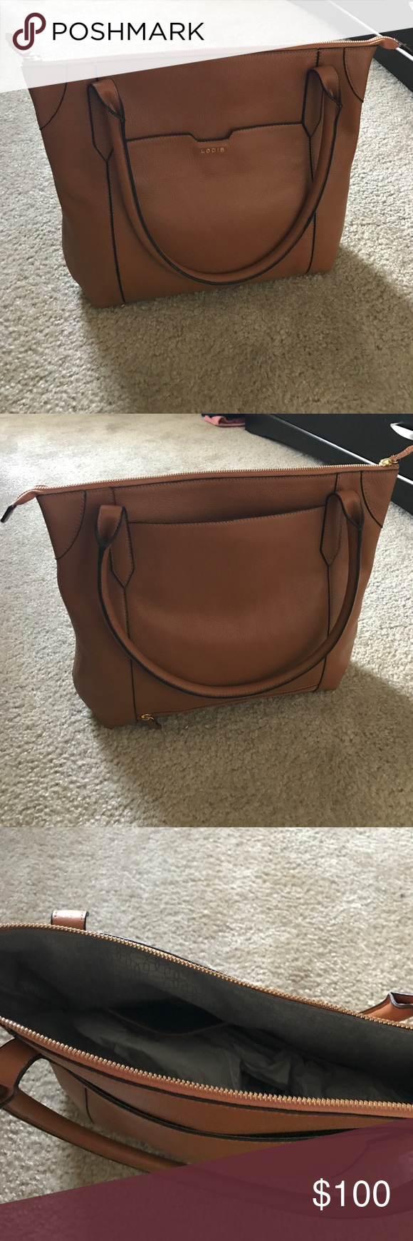 a1cb78e64 NEW Lodis Kiera Tote Light brown, leather, never used, still has packing  inside and spacious Lodis Bags Totes