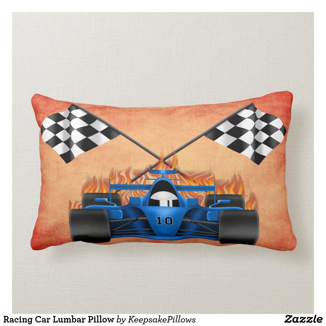 Racing Car Lumbar Pillow Zazzle Com Lumbar Pillow Pillows Lumbar