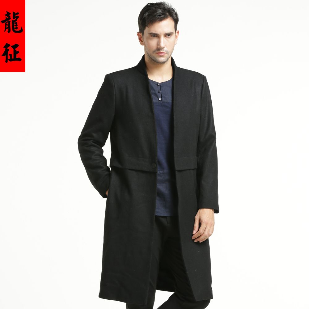 5c8bfd1f4 Amazing Stand-up Collar Open Neck Long Coat - Black - Chinese Jackets &  Coats - Men