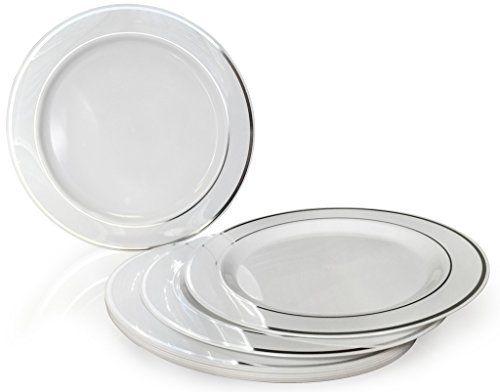 OCCASIONS  Disposable Plastic Plates White w/ Silver trim (120 pieces  sc 1 st  Pinterest & OCCASIONS