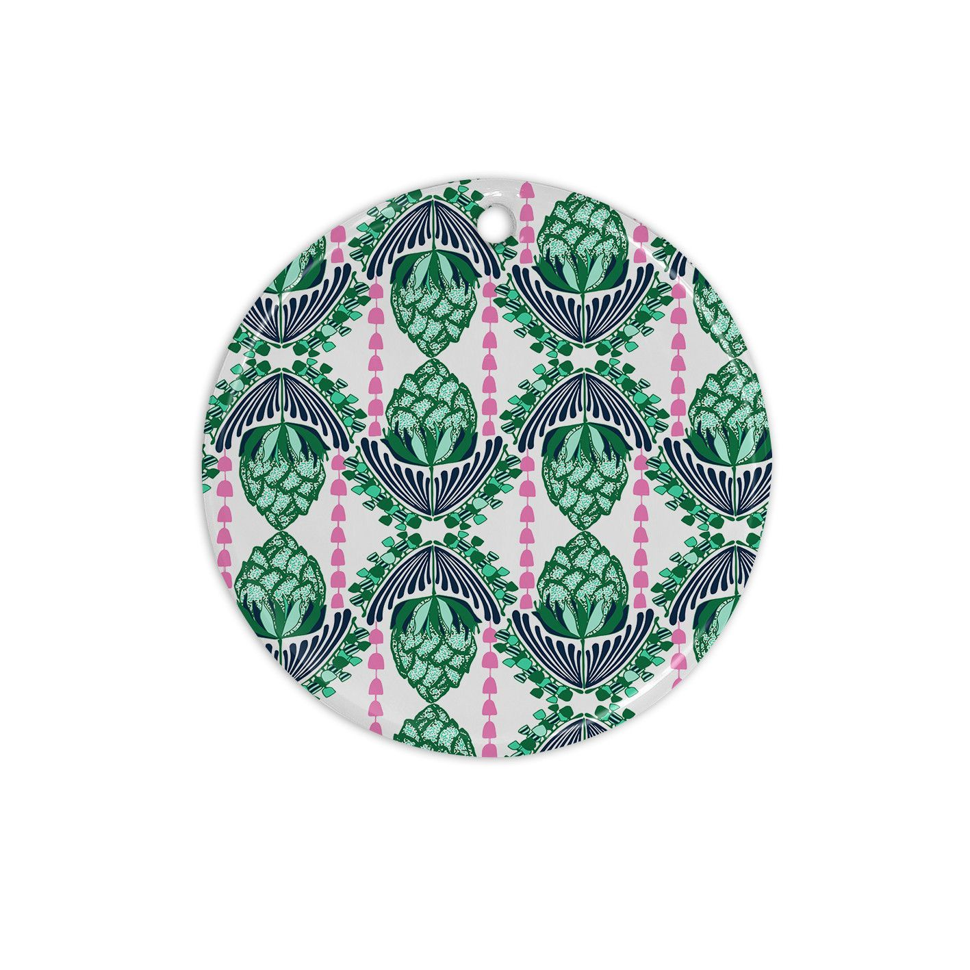 "Amy Reber ""Tassles"" Green Line Illustration Ceramic Circle Ornament"