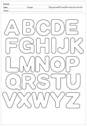Abecedário - Letras do Alfabeto para imprimir | Alfabeto para ...