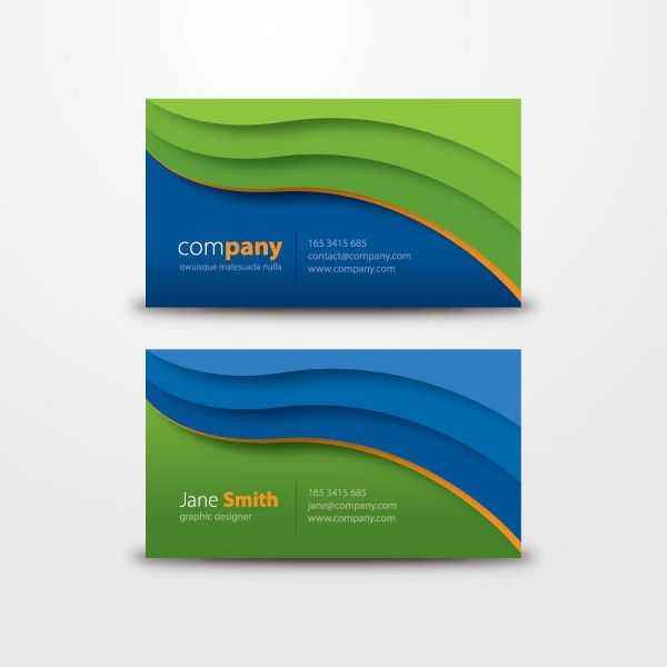 Nice Wavy Business Card Template Designed On Blue And Green Color