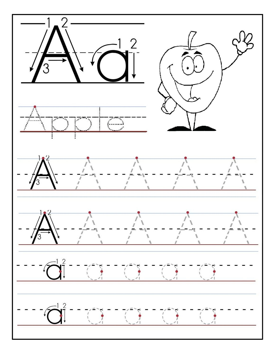 trace letter a for preschool | kids stuff organization | Preschool ...