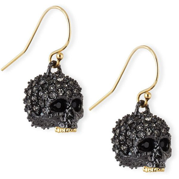 Alexis Bittar Elements Petite Pave Skull Earrings (1.160 NOK) ❤ liked on Polyvore featuring jewelry, earrings, silver, pave drop earrings, skull jewellery, drop earrings, golden earring and alexis bittar