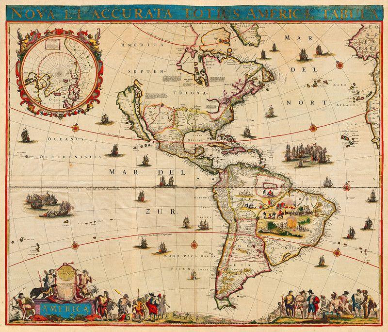 America: old map of the Americas, 1700, de Witt