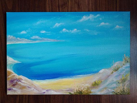 Abstract Seascape Original Oil Painting Canvas Tropical Beach Artwork Ocean Art Colorful Paradise Landscape Tropical Coastal Laguna Beach Paisajes
