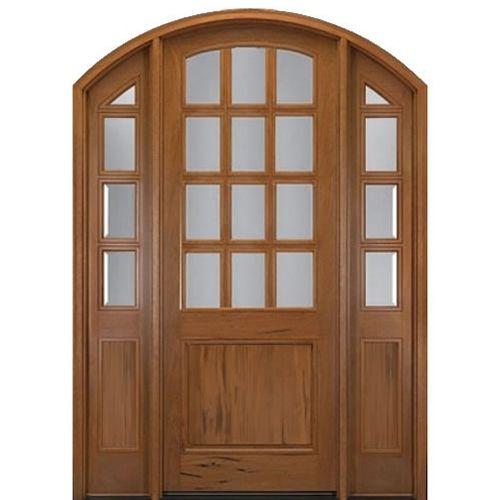 MAI Doors A798G-42ERCU Alpine  Eyebrow Radius Top Rail Door and 2 Sidelites Unit in Walnut