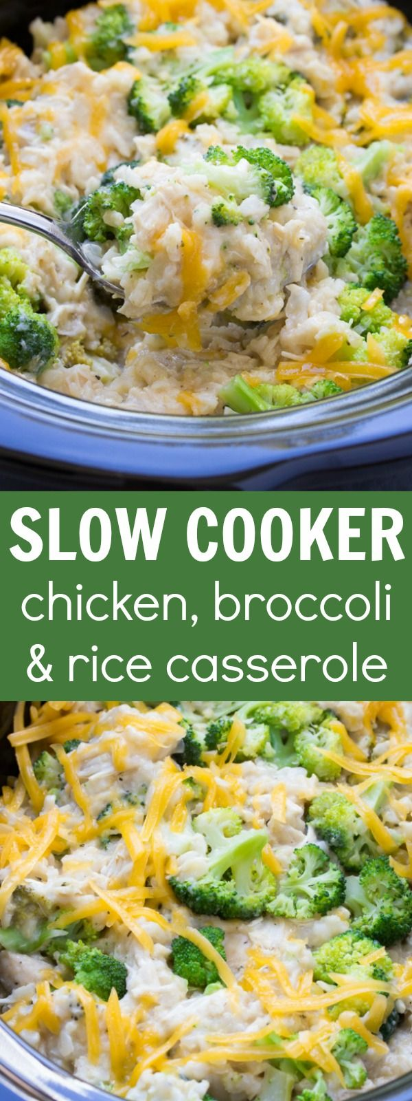 Best Ever Cheesy Slow Cooker Chicken Broccoli and Rice Casserole! Only 10 minutes prep time! (And it's healthy!) | www.kristineskitchenblog.com