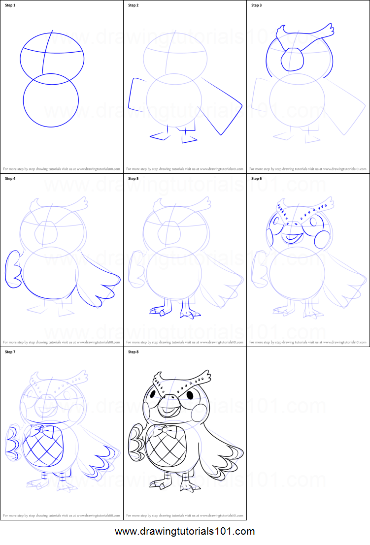 How To Draw Blathers From Animal Crossing Printable Drawing Sheet