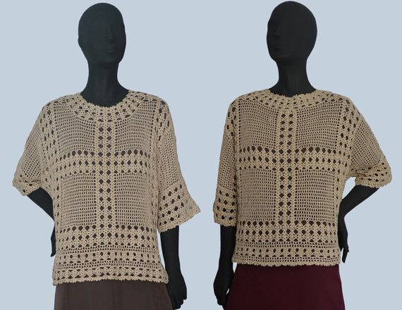 Crochet top PATTERN for sizes S-3XL, detailed tutorial in ENGLISH for every row, beach crochet tunic pattern PDF, filet crochet top pattern.